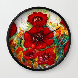 RED POPPIESS Wall Clock