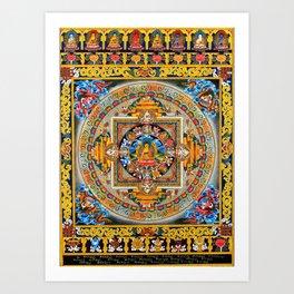 Buddhist Mandala Gold Tangka Wisdom Art Print