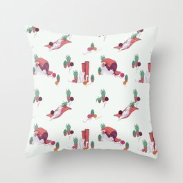 The Cat and Yarn ball // Hand drawn grey cat with rug and succulents Throw Pillow