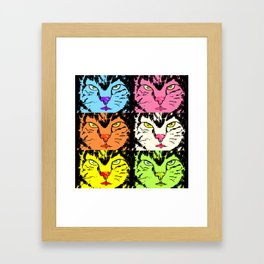 Cat faces with black on Framed Art Print
