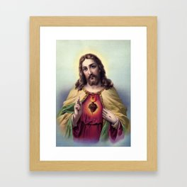 Sacred Heart of Jesus Christ blessing Framed Art Print