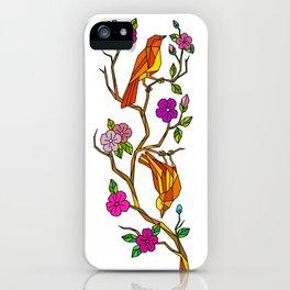 Bird on Cherry Blossom Low Polygon iPhone Case