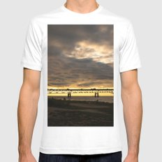 Waiting on the Sun to set MEDIUM White Mens Fitted Tee