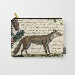 western country fairy rustic woodland nursery winter pine forest animal fox Carry-All Pouch