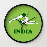 india Wall Clocks featuring India  by Tshirtbaba