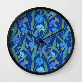 Cornflower field on bright blue Wall Clock