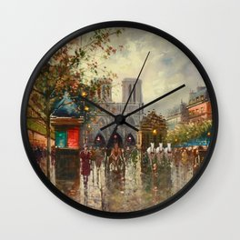 Cathedral Notre-Dame, Paris at Twilight by Antoine Blanchard Wall Clock