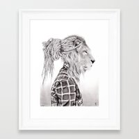 reggae Framed Art Prints featuring Reggae Lion by SABIN.M