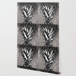 Pineapple Silver Gray Glitter Glam #1 #tropical #fruit #decor #art #society6 Wallpaper