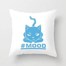 #MOOD Cat Blue Throw Pillow