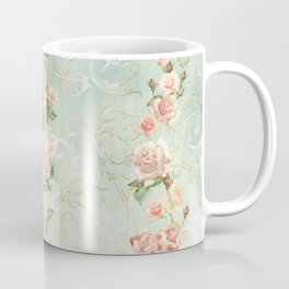 seamless, pattern, with delicate roses and monograms, shabby chic, retro. Coffee Mug