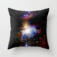 nebula Throw Pillows featuring Orion NebulA Colorful Full Image by 2sweet4words Designs