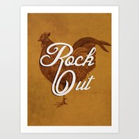 Rock Out Rooster Art Print