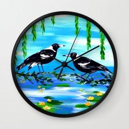 magpies and monet Wall Clock