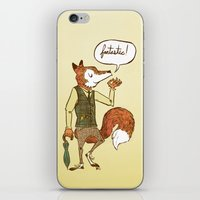 mr fox iPhone & iPod Skins featuring Mr. Fox by Drew Brockington