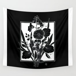 Black Bouquet Wall Tapestry