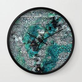 Rustic Boho Chic Teal Mandala Wall Clock