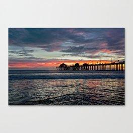 Huntington Beach Sunset  1/26/14 Canvas Print