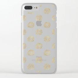 Gold Spiral Sun Pattern Clear iPhone Case