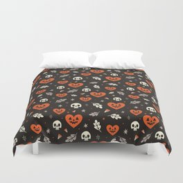 I Heart Halloween Pattern (Black) Duvet Cover