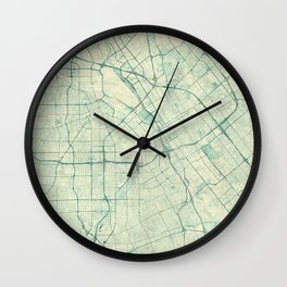 San Jose Map Blue Vintage Wall Clock