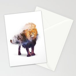 Lion Double exposure art Stationery Cards