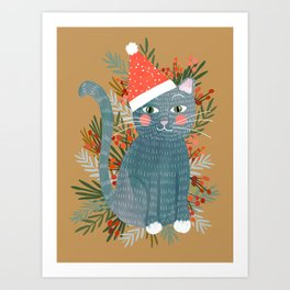 Blue Cat cute christmas xmas tree holiday funny cat art cat lady gift unique pet gifts Art Print