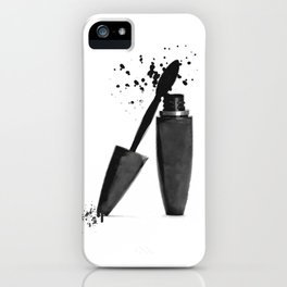 Black mascara fashion illustration iPhone Case
