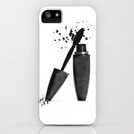 Black mascara fashion illustration iPhone Case