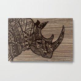 Wood Rhino Black Metal Print