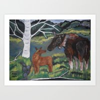 New Born Moose calf Art Print