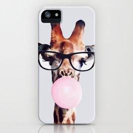 GIRAFFE WEARING GLASSES BLOWING A PINK BUBBLEGUM iPhone Case