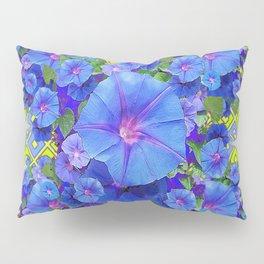 Lime-Blue Morning Glories Pattern Art Pillow Sham