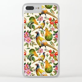 Vintage pink orange yellow ivory watercolor birds roses floral Clear iPhone Case