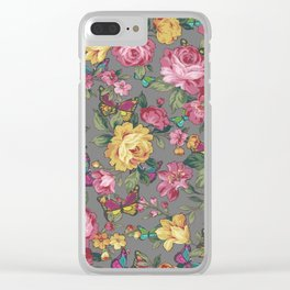 butterflies & roses Clear iPhone Case