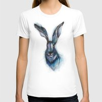 hare T-shirts featuring Blue Hare by ECMazur