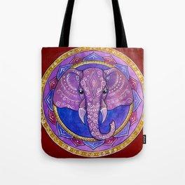 Elephant violet and red mandala Tote Bag