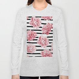 Simply Drawn Stripes and Roses Long Sleeve T-shirt
