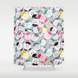 Funny Cartoon Emoticons Faces Shower Curtain