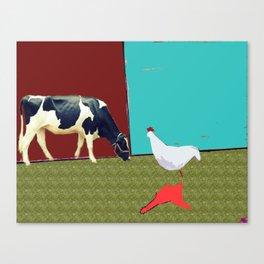 Donald meets a cow Canvas Print