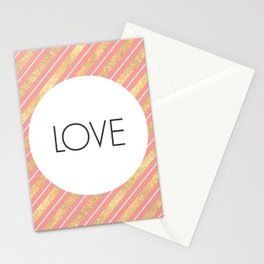 One Word - Love - Pink and Gold Stationery Cards