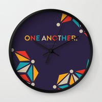 scripture Wall Clocks featuring One Another Scripture Poster (Ephesians 4) by Jess Creatives