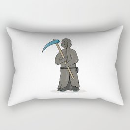 death reaper with dark robe and hood and scythe Rectangular Pillow