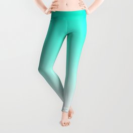 Modern bright simple mint green white color ombre gradient Leggings