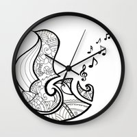 saxophone Wall Clocks featuring Saxophone by Inailau Hut