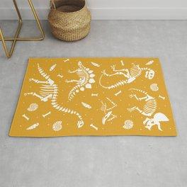 Dinosaur Fossils on Mustard Yellow Rug