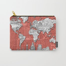 world map city skyline 9 Carry-All Pouch