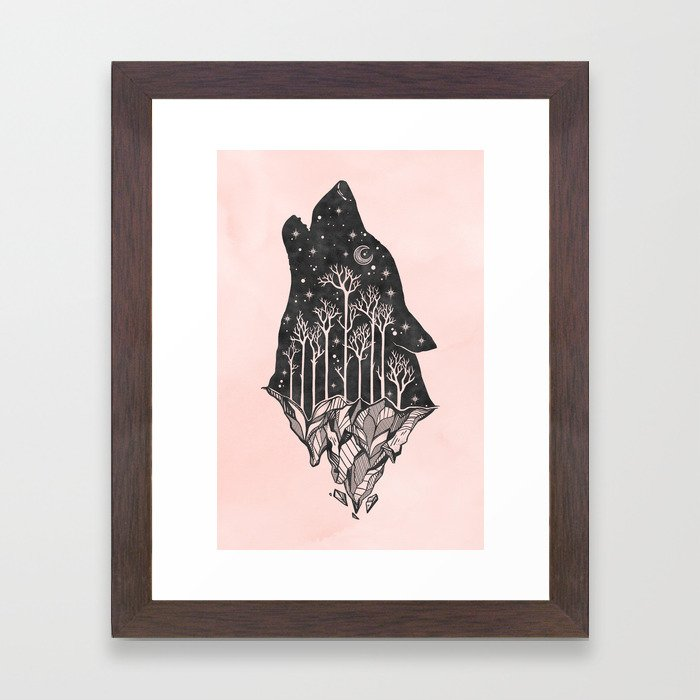 Adventure Wolf - Nature Mountains Wolves Howling Design Black on Pale Pink Framed Art Print