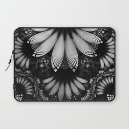 Shikoba Fractal -- Glittering Black and White Feathers in the Night Laptop Sleeve