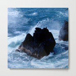 Tiny Bird at Rest on Rock Amidst Stormy Seas Metal Print